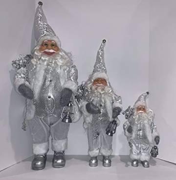 3 Weihnachtsmann-Figuren, traditionell, stehend, 3 Größen, Schneeweiß - 1