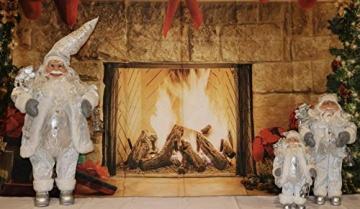 3 Weihnachtsmann-Figuren, traditionell, stehend, 3 Größen, Schneeweiß - 2