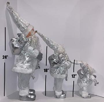 3 Weihnachtsmann-Figuren, traditionell, stehend, 3 Größen, Schneeweiß - 3