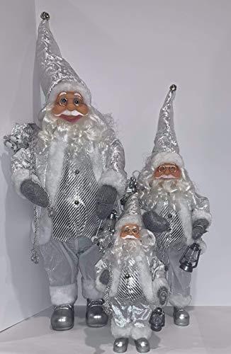 3 Weihnachtsmann-Figuren, traditionell, stehend, 3 Größen, Schneeweiß - 4