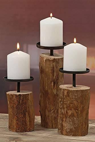 """3er-Set Kerzenleuchter Kerzenständer """"Tempe"""" Holz - H14/18,5/23,5cm - 1"""
