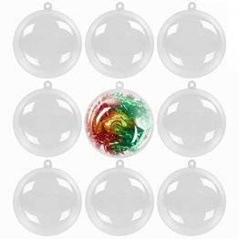 48 Durchsichtige Weihnachtskugeln, 6cm| Wiederverwendbar, Robust Plastik| DIY Basteln, Selber Gestalten, Weihnachtskugeln zum Befüllen Christbaumschmuck Weihnachtsdeko, Hochzeiten, Gastgeschenke. - 1