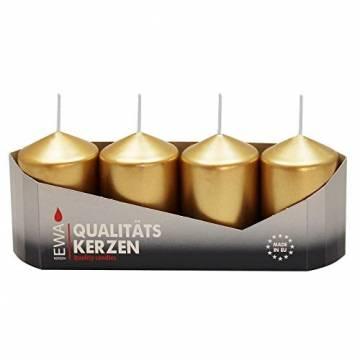 4er Tray Stumpenkerzen Gold lackiert, Größe ca. 40 x 60 mm Adventskerzen Weihnachtskerzen Säulenkerzen - 1