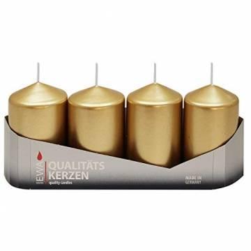4er Tray Stumpenkerzen Gold lackiert, Größe ca. 50 x 80 mm Adventskerzen Weihnachtskerzen Säulenkerzen - 1