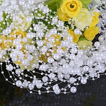 (65 Meter) 50 Strang Perlengirlande Perlenband Perlenkette Deko Weiß Tischdeko Hochzeit Dekoration Perlen Girlande für Braut Haarschmuck Brautstrauß Weihnachten DIY Handwerk (1,3M lang/Strang) - 4