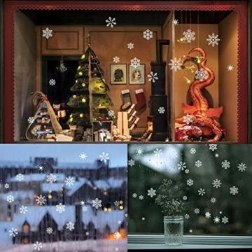 85 Fensterdeko Schneeflocken NICEXMAS Fensterbilder Schneeflocken(weiss) - Statisch Haftende PVC Aufkleber - 2