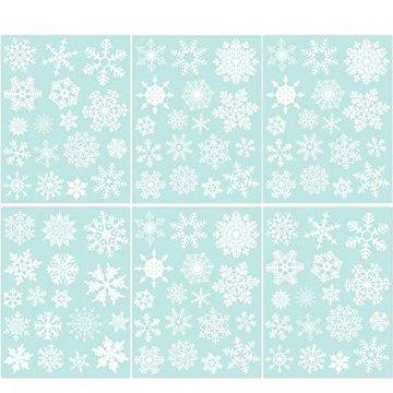 85 Fensterdeko Schneeflocken NICEXMAS Fensterbilder Schneeflocken(weiss) - Statisch Haftende PVC Aufkleber - 1