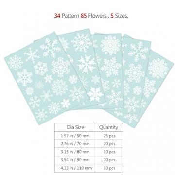 85 Fensterdeko Schneeflocken NICEXMAS Fensterbilder Schneeflocken(weiss) - Statisch Haftende PVC Aufkleber - 5