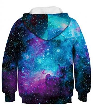 ALISISTER Hoody Kinder 3D Galaxy Hoodie Jungen Mädchen Kapuzenpullover Sweatshirt Langarm Casual Sport Shirts Tops L - 2