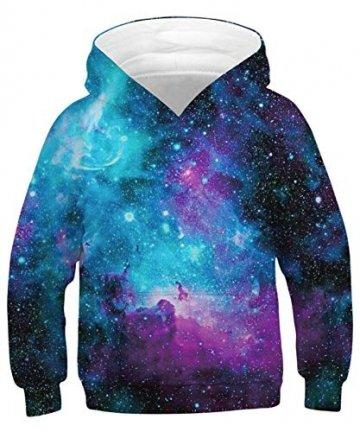 ALISISTER Hoody Kinder 3D Galaxy Hoodie Jungen Mädchen Kapuzenpullover Sweatshirt Langarm Casual Sport Shirts Tops L - 1
