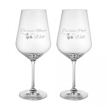 AMAVEL Rotweingläser, 2er Set Weingläser mit Gravur für Mama und Papa, Weinglas als Geschenkidee für Eltern, Füllmenge: 500 ml - 2