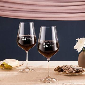 AMAVEL Rotweingläser, 2er Set Weingläser mit Gravur für Mama und Papa, Weinglas als Geschenkidee für Eltern, Füllmenge: 500 ml - 3