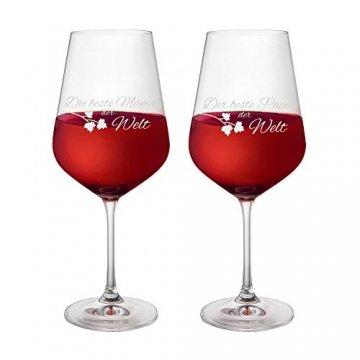 AMAVEL Rotweingläser, 2er Set Weingläser mit Gravur für Mama und Papa, Weinglas als Geschenkidee für Eltern, Füllmenge: 500 ml - 1
