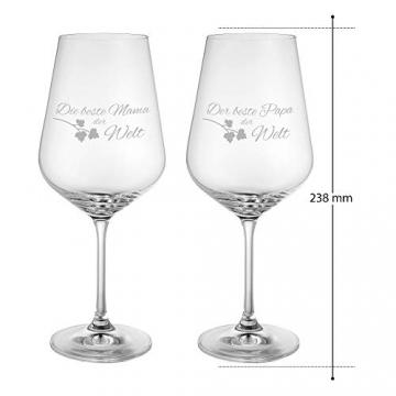 AMAVEL Rotweingläser, 2er Set Weingläser mit Gravur für Mama und Papa, Weinglas als Geschenkidee für Eltern, Füllmenge: 500 ml - 7