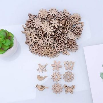 Amosfun 100 Stücke Vogel und Blumen Holzscheiben Weihnachten Streudeko Holz Streuteile Tischdeko Konfetti Weihnachtsschmuck Baumschmuck Weihnachtsbaum Deko (Gemischten Stil) - 4