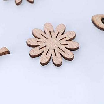 Amosfun 100 Stücke Vogel und Blumen Holzscheiben Weihnachten Streudeko Holz Streuteile Tischdeko Konfetti Weihnachtsschmuck Baumschmuck Weihnachtsbaum Deko (Gemischten Stil) - 5