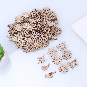 Amosfun 100 Stücke Vogel und Blumen Holzscheiben Weihnachten Streudeko Holz Streuteile Tischdeko Konfetti Weihnachtsschmuck Baumschmuck Weihnachtsbaum Deko (Gemischten Stil) - 7