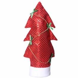 Amosfun weihnachtswein flaschentasche weihnachtsbaumform Wein flaschenbezug Tasche Pailletten Wein Aufbewahrungstasche weihnachtstischdekoration rot - 1