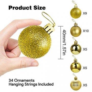 Annuus Weihnachtskugeln Gold, 34tlg Christbaumkugeln Set Plastik Weihnachtsbaum mit Abnehmbare Schnur,Weihnachts Kugeln klein für hängende Dekorationen Festival Urlaub Dekor(40MM,Gold) - 2