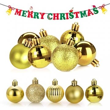 Annuus Weihnachtskugeln Gold, 34tlg Christbaumkugeln Set Plastik Weihnachtsbaum mit Abnehmbare Schnur,Weihnachts Kugeln klein für hängende Dekorationen Festival Urlaub Dekor(40MM,Gold) - 3