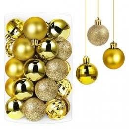 Annuus Weihnachtskugeln Gold, 34tlg Christbaumkugeln Set Plastik Weihnachtsbaum mit Abnehmbare Schnur,Weihnachts Kugeln klein für hängende Dekorationen Festival Urlaub Dekor(40MM,Gold) - 1
