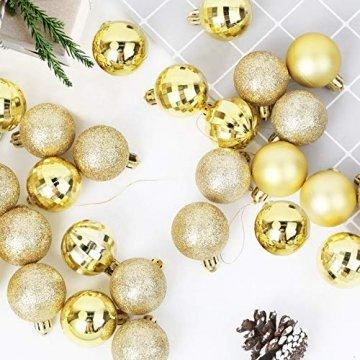 Annuus Weihnachtskugeln Gold, 34tlg Christbaumkugeln Set Plastik Weihnachtsbaum mit Abnehmbare Schnur,Weihnachts Kugeln klein für hängende Dekorationen Festival Urlaub Dekor(40MM,Gold) - 4