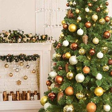 Annuus Weihnachtskugeln Gold, 34tlg Christbaumkugeln Set Plastik Weihnachtsbaum mit Abnehmbare Schnur,Weihnachts Kugeln klein für hängende Dekorationen Festival Urlaub Dekor(40MM,Gold) - 5
