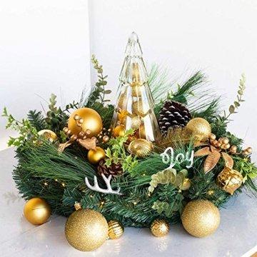 Annuus Weihnachtskugeln Gold, 34tlg Christbaumkugeln Set Plastik Weihnachtsbaum mit Abnehmbare Schnur,Weihnachts Kugeln klein für hängende Dekorationen Festival Urlaub Dekor(40MM,Gold) - 6