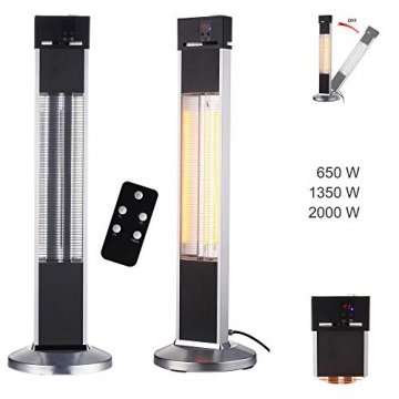 Arebos Infrarot Stand Heizstrahler 2000 W | mit Fernbedienung | IP34 Schutzart | Low-Glare-Technologie | 3 Heizstufen - 3