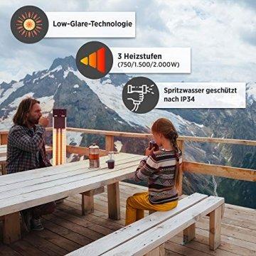 Arebos Infrarot Stand Heizstrahler 2000 W | mit Fernbedienung | IP34 Schutzart | Low-Glare-Technologie | 3 Heizstufen - 4