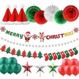 AsperX Weihnachtsdekorationen Set, 25 Pcs X Mas Deko Weihnachtsfeier Banner und Socken Baumfahne Hanging Bunting Filzgirlande, Weihnachtssterne Girlanden Hanging Snowflake Fans Honeycomb Hat - 1