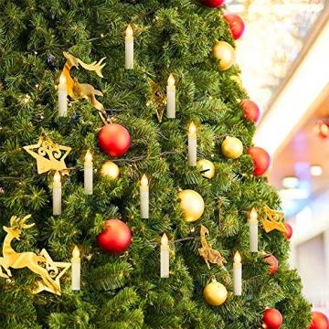 Aufun 30 Stück LED Weihnachtskerze Warmweiß Weinachten, Mini Kabellose Christbaumkerzen Flammenlose mit Fernbedienung und Batterien IP44 für Weihnachtsbaum, Hochzeit, Partys - 4