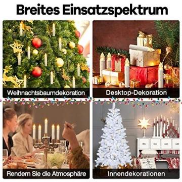 Aufun 30 Stück LED Weihnachtskerze Warmweiß Weinachten, Mini Kabellose Christbaumkerzen Flammenlose mit Fernbedienung und Batterien IP44 für Weihnachtsbaum, Hochzeit, Partys - 5