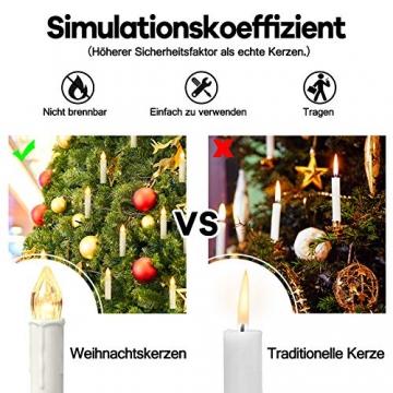 Aufun 30 Stück LED Weihnachtskerze Warmweiß Weinachten, Mini Kabellose Christbaumkerzen Flammenlose mit Fernbedienung und Batterien IP44 für Weihnachtsbaum, Hochzeit, Partys - 6