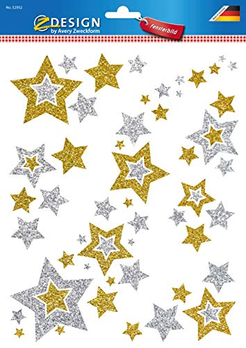 AVERY Zweckform Art. 52952 Fensterbilder Weihnachten Sterne gold/silber (selbstklebende Fenstersticker, Weihnachtsdeko für Fenster, Fensterfolie ablösbar, beglimmert) 1 Bogen mit 6 Fensteraufklebern - 2
