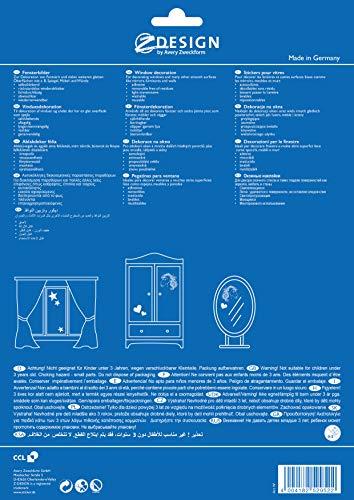 AVERY Zweckform Art. 52952 Fensterbilder Weihnachten Sterne gold/silber (selbstklebende Fenstersticker, Weihnachtsdeko für Fenster, Fensterfolie ablösbar, beglimmert) 1 Bogen mit 6 Fensteraufklebern - 3
