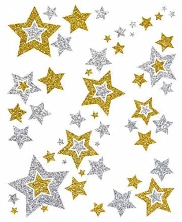 AVERY Zweckform Art. 52952 Fensterbilder Weihnachten Sterne gold/silber (selbstklebende Fenstersticker, Weihnachtsdeko für Fenster, Fensterfolie ablösbar, beglimmert) 1 Bogen mit 6 Fensteraufklebern - 1