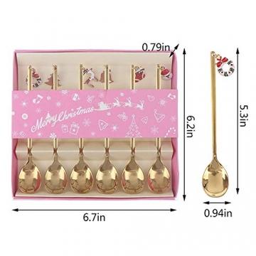 AXspeed Weihnachtslöffel, 6-teiliges Edelstahl-Löffel, Koch-Set mit Weihnachtsanhänger, Kaffee-Rührlöffel, Teelöffel, Dessertlöffel, mit Geschenkbox (Gold) - 2