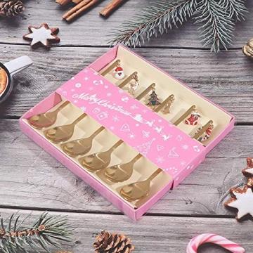 AXspeed Weihnachtslöffel, 6-teiliges Edelstahl-Löffel, Koch-Set mit Weihnachtsanhänger, Kaffee-Rührlöffel, Teelöffel, Dessertlöffel, mit Geschenkbox (Gold) - 3