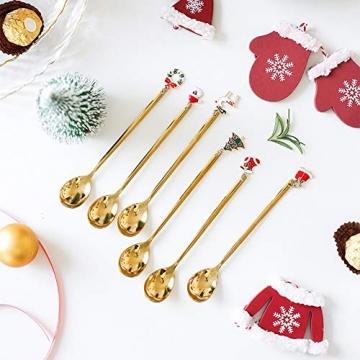 AXspeed Weihnachtslöffel, 6-teiliges Edelstahl-Löffel, Koch-Set mit Weihnachtsanhänger, Kaffee-Rührlöffel, Teelöffel, Dessertlöffel, mit Geschenkbox (Gold) - 4
