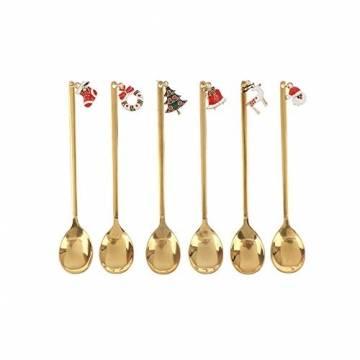 AXspeed Weihnachtslöffel, 6-teiliges Edelstahl-Löffel, Koch-Set mit Weihnachtsanhänger, Kaffee-Rührlöffel, Teelöffel, Dessertlöffel, mit Geschenkbox (Gold) - 1