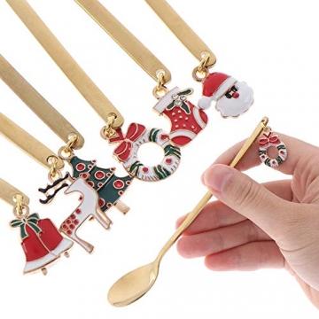 AXspeed Weihnachtslöffel, 6-teiliges Edelstahl-Löffel, Koch-Set mit Weihnachtsanhänger, Kaffee-Rührlöffel, Teelöffel, Dessertlöffel, mit Geschenkbox (Gold) - 5