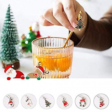 AXspeed Weihnachtslöffel, 6-teiliges Edelstahl-Löffel, Koch-Set mit Weihnachtsanhänger, Kaffee-Rührlöffel, Teelöffel, Dessertlöffel, mit Geschenkbox (Gold) - 6