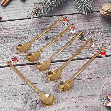 AXspeed Weihnachtslöffel, 6-teiliges Edelstahl-Löffel, Koch-Set mit Weihnachtsanhänger, Kaffee-Rührlöffel, Teelöffel, Dessertlöffel, mit Geschenkbox (Gold) - 9