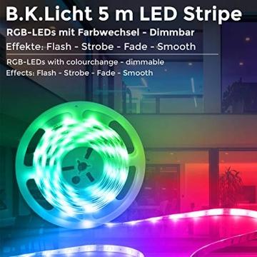 B.K.Licht LED Strip 5m, RGB Streifen, Strips, Band mit Farbwechsel, Stripes mit Fernbedienung, Lichtband selbstklebend, LED Leiste, Lichterkette bunt, Lichtleiste - 2