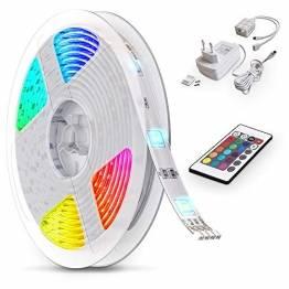B.K.Licht LED Strip 5m, RGB Streifen, Strips, Band mit Farbwechsel, Stripes mit Fernbedienung, Lichtband selbstklebend, LED Leiste, Lichterkette bunt, Lichtleiste - 1
