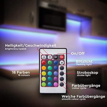 B.K.Licht LED Strip 5m, RGB Streifen, Strips, Band mit Farbwechsel, Stripes mit Fernbedienung, Lichtband selbstklebend, LED Leiste, Lichterkette bunt, Lichtleiste - 5
