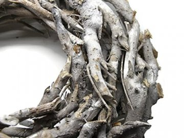 Bada Bing XL Weidenkranz Holz Kranz Geäst Naturprodukt aus Zweigen Ø Ca. 50 cm Weiss Grau Landhaus Stil Deko Tischdeko Wanddeko Adventskranz Türkranz Weihnachten Deko 31 - 2