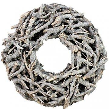 Bada Bing XL Weidenkranz Holz Kranz Geäst Naturprodukt aus Zweigen Ø Ca. 50 cm Weiss Grau Landhaus Stil Deko Tischdeko Wanddeko Adventskranz Türkranz Weihnachten Deko 31 - 1