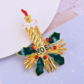BaiXing Weihnachtskerze Brosche grüne Legierung Kleidung europäischen und amerikanischen Oil 琅 Tropfen Ölstift gehobenen 3 Pack - 3